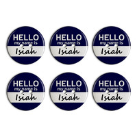 Isiah Hello My Name Is Plastic Resin Button Set of 6