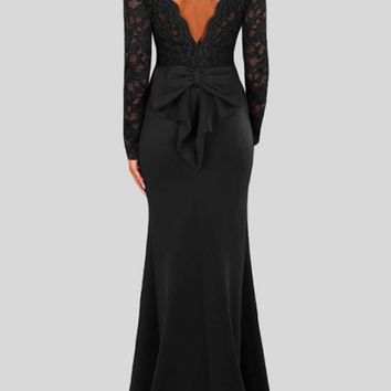 Black Patchwork Lace Backless Round Neck Long Sleeve Mermaid Maxi Dress