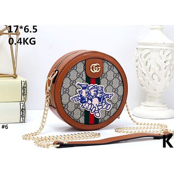 GUCCI tide brand female embroidery three small pig chain shoulder slung female bag round cake bag #6