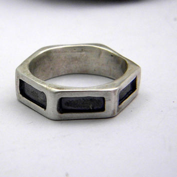 Solid silver geometric ring for men, small men band ring  size 9 matte finish