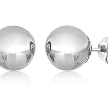 14KT White Gold Ball Stud Earrings With Butterfly Pushbacks