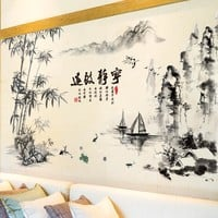 Black Color Bamboo Mountain Wall Stickers Self-adhesive Wallpapers Chinese Style Home Decor Sticker for Living Room Decoration
