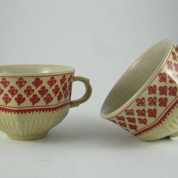 Vintage Unique Coffee Tea Cup, Espresso Porcelain,Leaves, China, Set of 2 Cups , English Tea Set for 2, Couple Cups, TWO CUPS, Garden