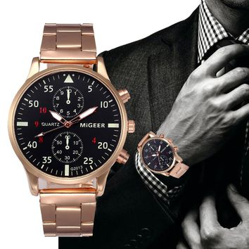 MiGEER Mens Watches Top Brand Luxury Stainless Steel Quartz Watch 3 Colors Gift Business Army Watch Relogio Masculino Wristwatch