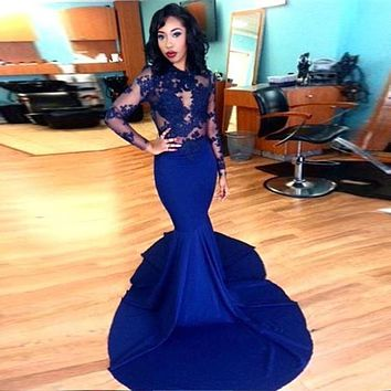 Mermaid Evening Dresses 2017 High Neck Long Sleeve Zipper Watteau Train Satin with Lace Applique Prom Dresses 2017 Party Gowns