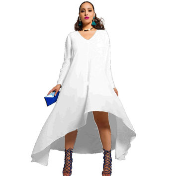 Sexy Plus Size V Neck Long Sleeve Irregular Long Dress