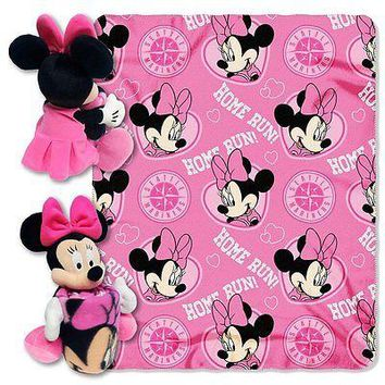 Minnie Mouse Cheerleader Seattle Mariners MLB Throw and Hugger Pillow Set