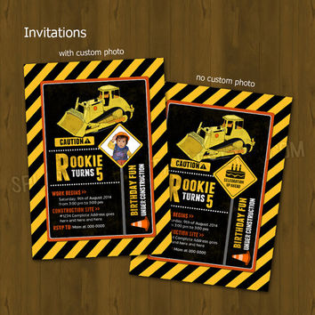 Construction Worker Party Invitation - Heavy Construction Equipment Bulldozer Printable Birthday Invitation (With or Without Custom Photo)