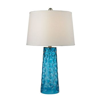 Hammered Glass Table Lamp in Blue With Pure White Linen Shade Blue