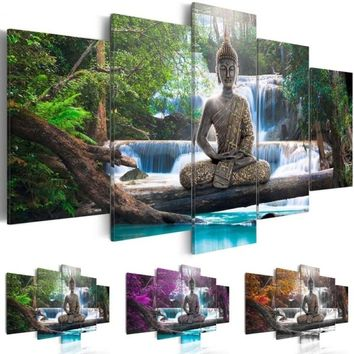 ( No Frame ) Buddha Canvas Print Modern Abstract Zen Art Painting Home Decoration(Color:Green,Yellow,Purple,Size:3)