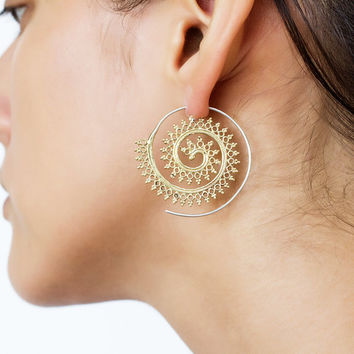 f3fb79cd4 Umanativedesign on Etsy $9.95. Indian gold earrings. tribal earring. ethnic  earring. tribal brass earrings. spiral earrings