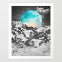 It Seemed To Chase the Darkness Away (Guardian Moon) Art Print by Soaring Anchor Designs ⚓