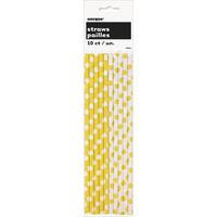 Unique: 10 Yellow and White Paper Straws for Food Crafts, Cake Pops Sticks, ETC