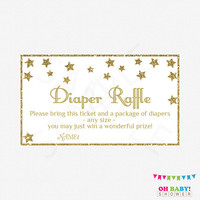 Gender Neutral Baby Shower, Gold Twinkle Twinkle Little Star, Diaper Raffle Ticket, Diaper Raffle Sign and Raffle Cards, Printable, STGG