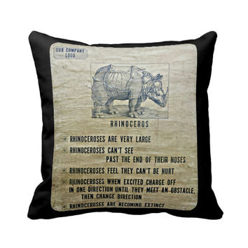 Novelty Pillow, Rhinoceros Pillow, Black Brown Pillow, Corporate Humor, rustic decor pillow cover and insert,