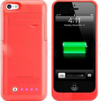 Kujian iPhone 5s Charger Case Backup Power Bank with Kick Stand Holder Portable Outdoor for Apple iPhone 5/5s/5c/SE (iOS 8 or above Compatible)-Pink