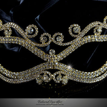 Mayda Romantic Swirls Gold Masquerade Mask | Crystal