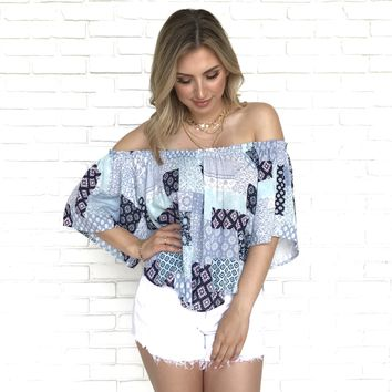 Patch It Up Off Shoulder Top