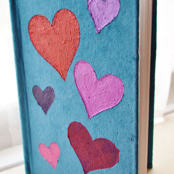 Teal Blue Fabric Art Journal with 6 Hearts love unique present gift handmade book
