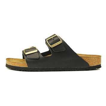 VONE05U Birkenstock for Women: Narrow Arizona Soft Footbed Hunter Black Sandals