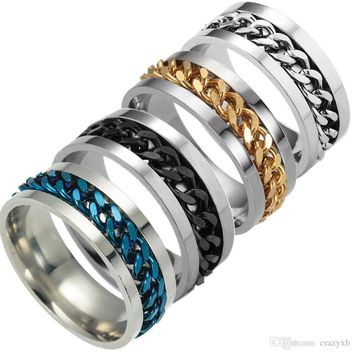 New High-end boutique men's stainless steel gold black silver chain rotatable ring finger tide personality 5color