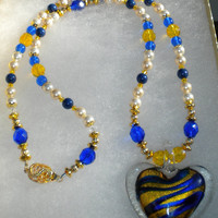 Blue and Gold Swarovski Pearl and Crystal Necklace