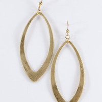 Worn Gold Long Large Open Earrings