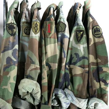 Camo Jacket Vintage Army Jacket Reclaimed Military Button Down Shirt Jacket ALL SIZES