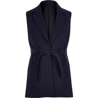 Girls navy belted sleeveless jacket