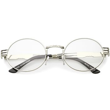 Retro Round Clear Lens Engraved Metal Steampunk Flat Lens Glasses C481