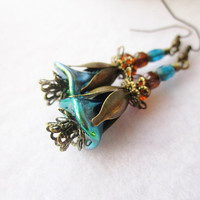 Teal Czech Glass Flowers & Amber Orange Cathedral Czech Glass Layered Bronze Flower Petal Earrings