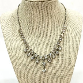 Art Deco Rock Crystal Necklace, Rock Crystal Dangle Necklace, Rhodium Plated Setting, 1930s, Wedding Special Occasion Jewelry, Vintage
