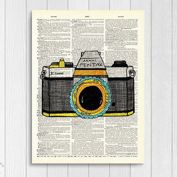 Asahi Pentax Vintage Camera Inspired Upcycled Book Page Print/ Antique Photography Camera Collage Hand Drawn Wall Art Unframed | Ambercurio