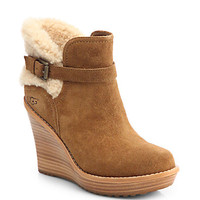 Anais Shearling-Trimmed Suede Ankle Boots