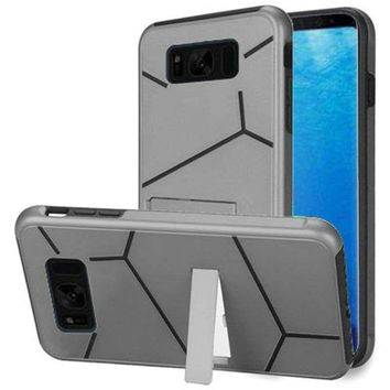 Samsung Galaxy S8 Slim HLX Hybrid Phone Case with Kickstand, Silver/Black