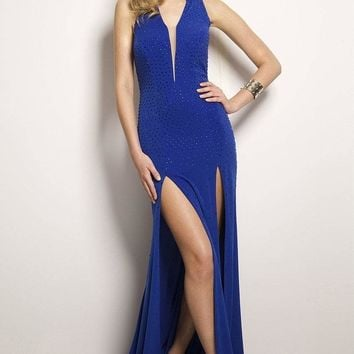 Jovani - Embellished V-neck with Hood Evening Dress 24995