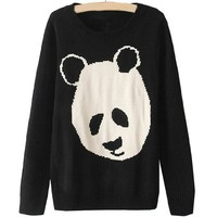 Partiss Women Panda Sweater, Small, Black