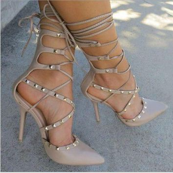 onetow One-nice? Fashion lace up hollow high-heels metal shoes women sandals