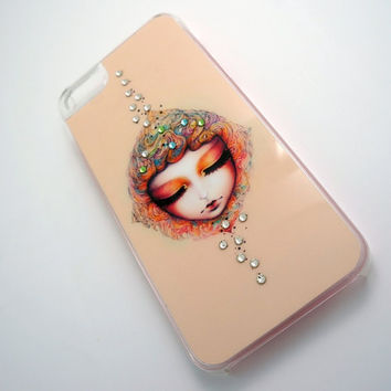 Kawaii baby face iPhone 5 case with Swarovski Crystals, Special iPhonre 5 case