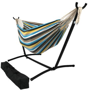 Sunnydaze Decor Ocean View Woven Cotton Hammock with Stand