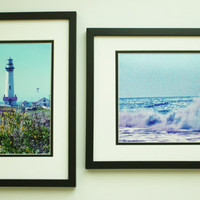 Wall Decor Set of 2 Beach Photos, Blue, Aqua, 8x10 Prints, Unique Art, Shabby Chic, Waves, Lighthouse, Gift, Beach Decor