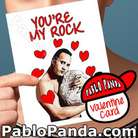 Valentine For Him | Valentine Day Card The Rock | Valentine Day Gift Love Card For Her Valentine Day Funny I Love You Card For Friend Men