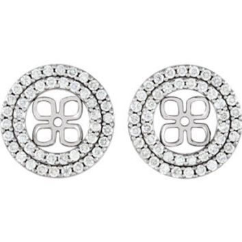 14K Rose 9/10 CTW Diamond Earring Jackets for 8mm Pearl