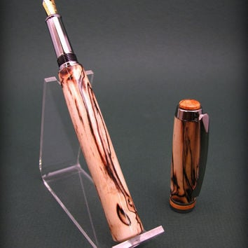 fountain Pen closed end Trivalent chrome in an Unbelievable Spalted Maple. Wood.