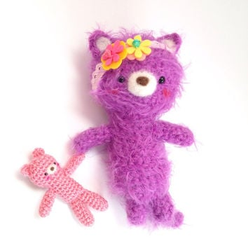 Amigurumi Cat Amigurumi Bear Crochet Bear Crochet Cat Purple Fuzzy Cat Crochet Doll Plush Stuffed Toy Cat Kawaii Cat