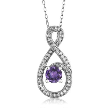 "1.05 Ct Round Purple Amethyst 925 Sterling Silver Pendant with 18"" Silver Chain"
