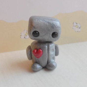 Small polymer clay robot sculpture, miniature robot figurine, silver robot figure, steampunk robot collectible, mini robot sculpture.