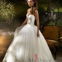 Ballgown Sweetheart Floor-length Tulle White Dress With Lace at Msdressy
