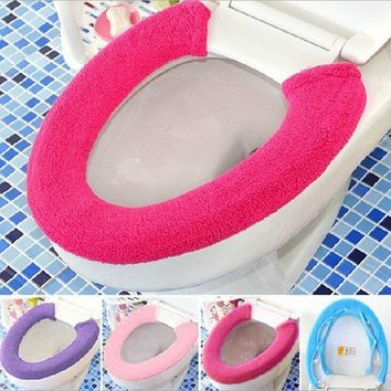 Warm Soft Toilet Cover Seat Lid Pad Bathroom Closestool Protector bathroom accessories set toilet seat cover mat  #1111