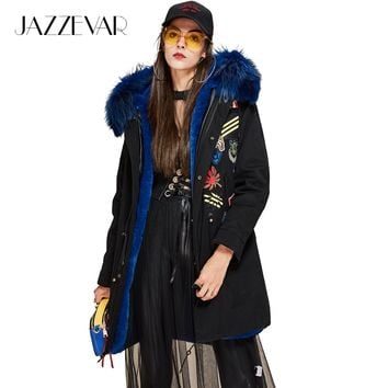 JAZZEVAR New Fashion Winter Women's Large raccoon Fur Collar parka Hooded Coat Appliques beading Military medals Long Jacket